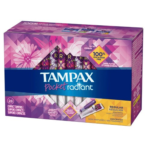 Tampax Pocket Radiant Regular Absorbency Unscented Compact Plastic Tampons - 28ct - image 1 of 4