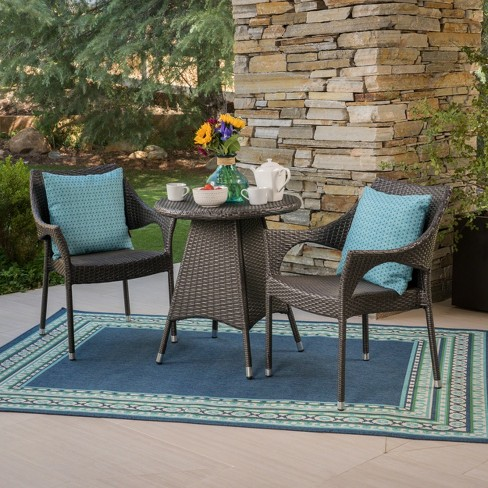 Ceylon 3pc Wicker Patio Bistro Set - Christopher Knight Home - image 1 of 4