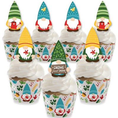 Big Dot of Happiness Garden Gnomes - Cupcake Decoration - Forest Gnome Party Cupcake Wrappers and Treat Picks Kit - Set of 24
