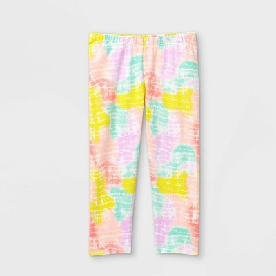 Girls' Tie-Dye Capri Leggings - Cat & Jack™ White