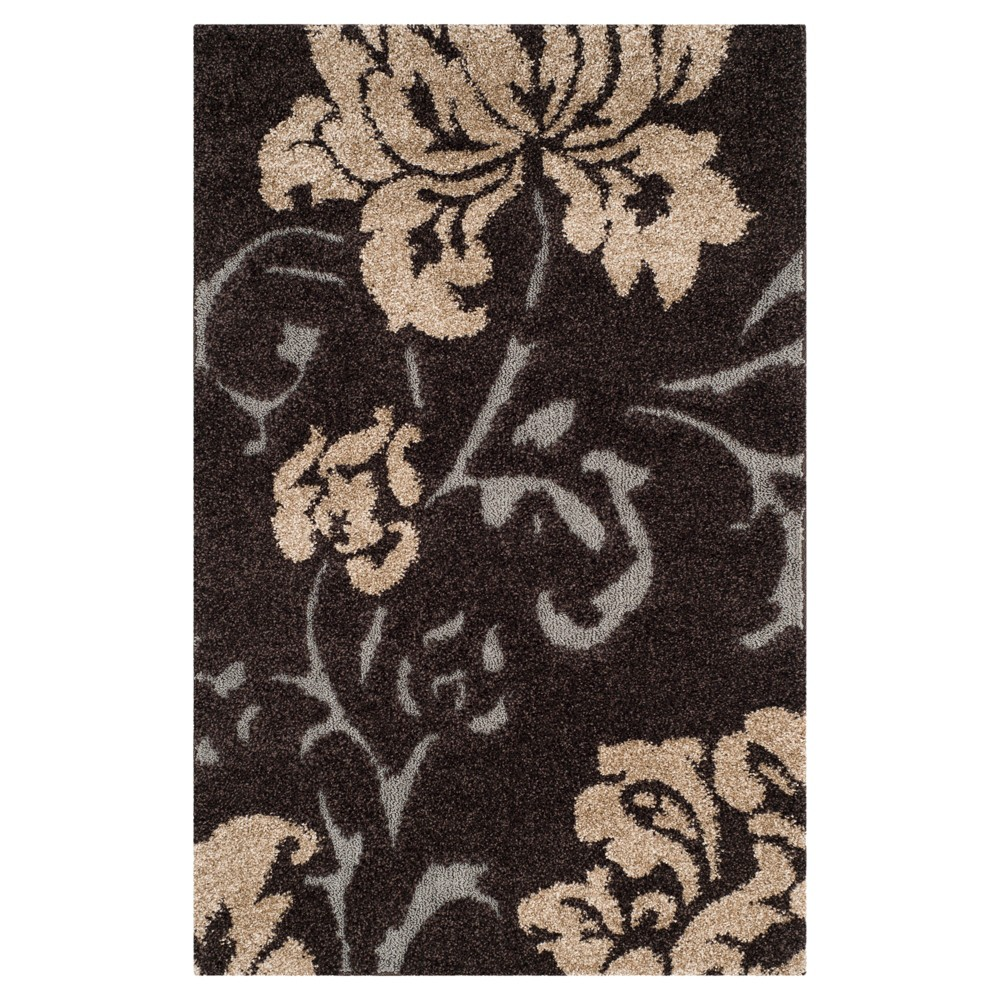 Dark Brown/Smoke (Dark Brown/Grey) Botanical Loomed Area Rug - (4'X6') - Safavieh