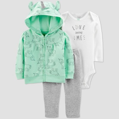 Baby Girls' Unicorn Cardigan Top & Bottom Set - Just One You® made by carter's Mint 18M