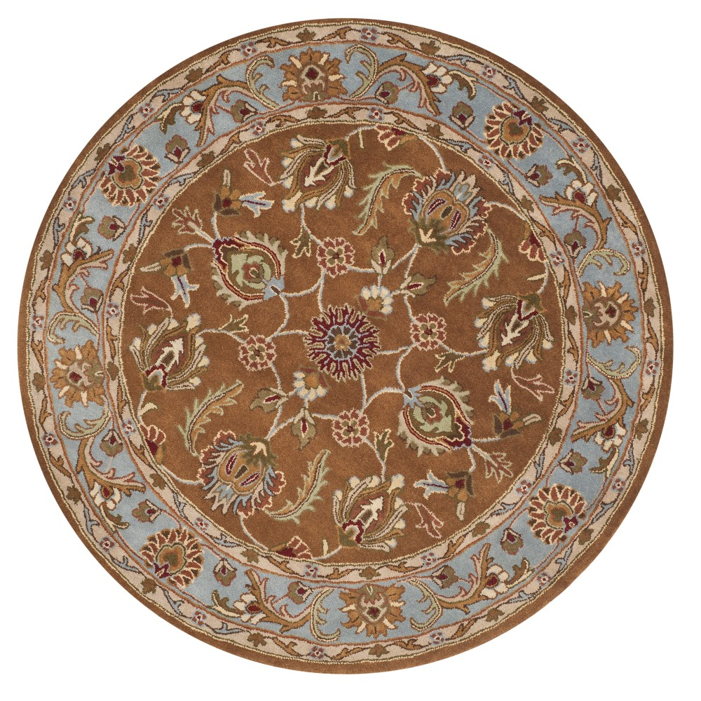 Brown/Blue Floral Tufted Round Area Rug 6' - Safavieh