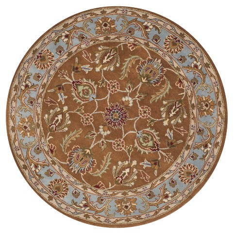 Brown Blue Floral Tufted Round Area Rug 8 Safavieh Target