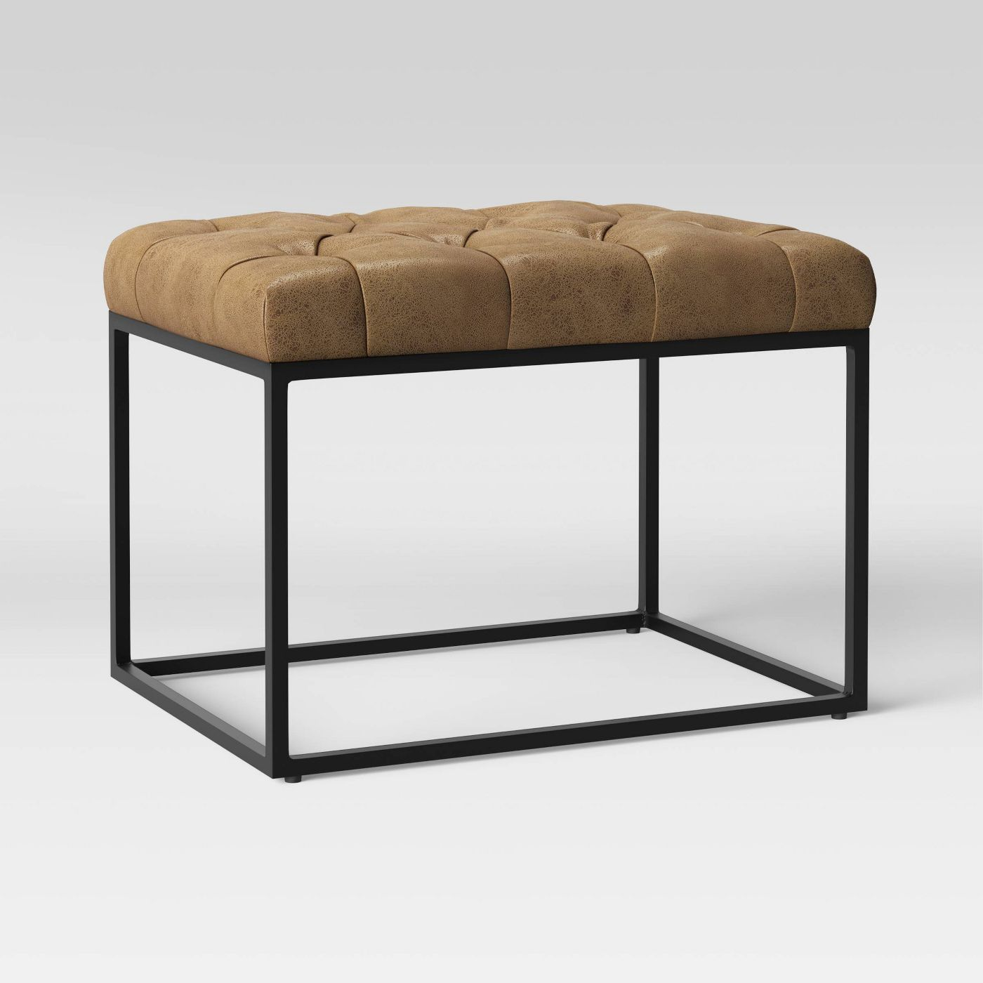 Trubeck Tufted Ottoman Faux Leather with Metal Base Brown - Project 62™ - image 3 of 5