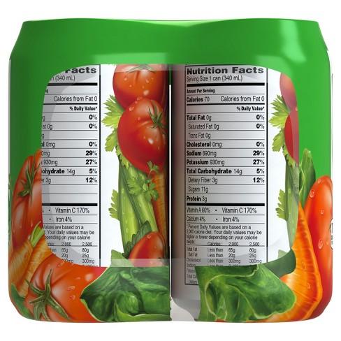 V8 Original 100 Vegetable Juice 6pk 11 5 Fl Oz Target