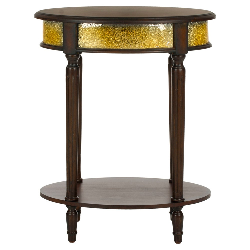 Bernice Side Table Dark Brown/Gold - Safavieh, Dark Brown & Gold