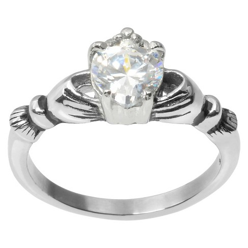 3/4 CT. T.W. Heart Cut CZ Basket Set Claddagh Ring in Stainless Steel - Silver - image 1 of 2
