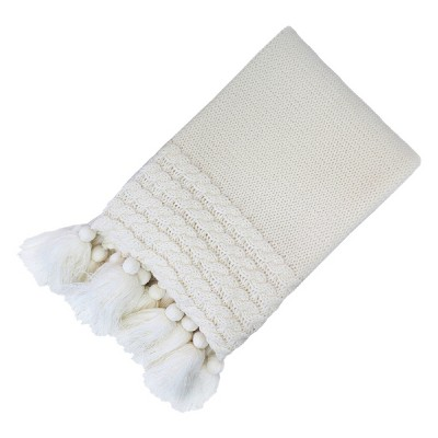 Knit Throw Blanket with Tassels Cream 50 x60