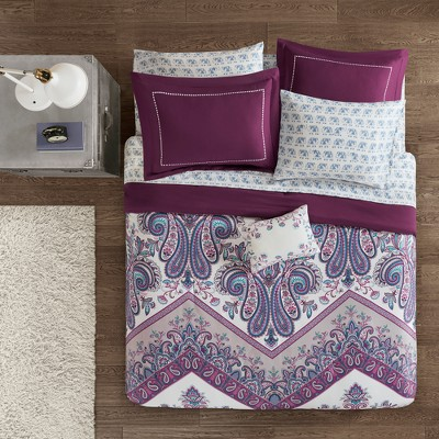 9pc Full Allura Complete Bed and Sheet Set Purple