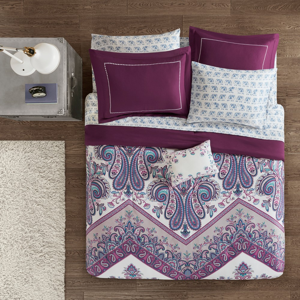 9pc Queen Allura Complete Bed and Sheet Set Purple
