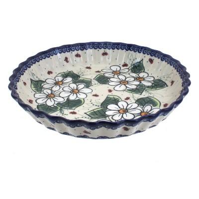 Blue Rose Polish Pottery Ladybug Pie Plate