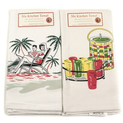 """Tabletop 24.0"""" Summer's Here Towels Set/2 100 Cotton Beach Days Keep Cool Red And White Kitchen Company  -  Kitchen Towel"""
