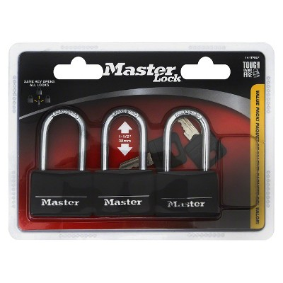 Master Lock 3pk 40mm Covered Brass Key Lock Set Black