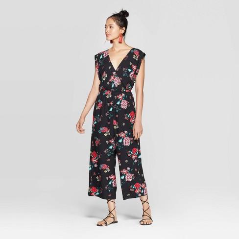 Women's Floral Print Sleeveless V-Neck Button Wrap Floral Jumpsuit - Xhilaration™ Black - image 1 of 2