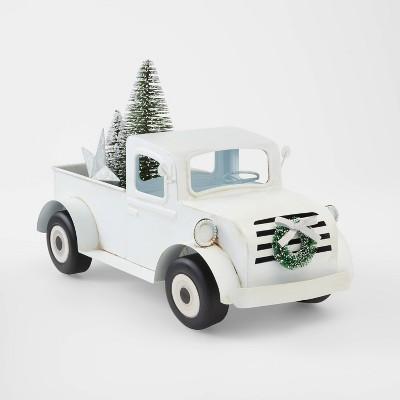 Large Truck with Bottle Brush in Back Decorative Christmas Figurine White - Wondershop™
