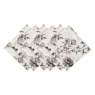 6pk Cotton Botanical Print Napkins Beige - Design Imports