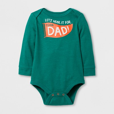 Baby Boys' Long Sleeve Lets' Hear it For Dad Bodysuit - Dark Green Cat & Jack™ 0-3M