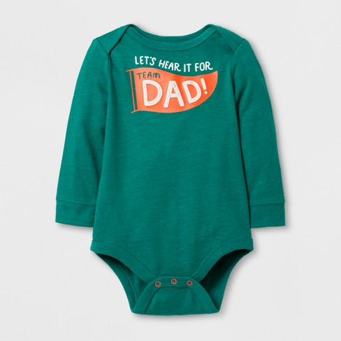 Baby Boys' Long Sleeve Lets' Hear it For Dad Bodysuit - Dark Green Cat & Jack™ - image 1 of 1