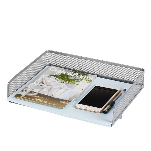 mesh stacking letter tray with wide side opening silver made by design