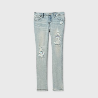 Girls' Flip Sequin Distressed Skinny Jeans - Cat & Jack™ Light Wash