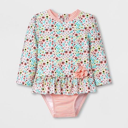 32c184e47b3 Baby Girls' Zip Rash Guard One Piece Swimsuit - Cat & Jack™ Pink ...