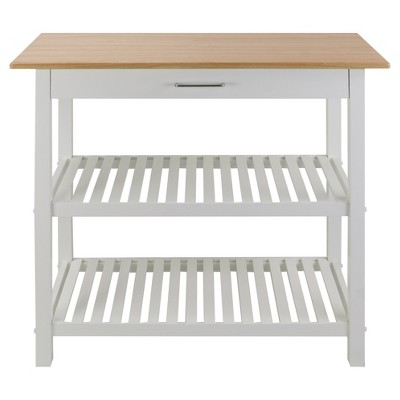 Kitchen Island with Solid Wood Top - White - Flora Home