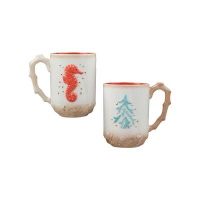 C&F Home Coral Tree & Seahorse Mug A/2