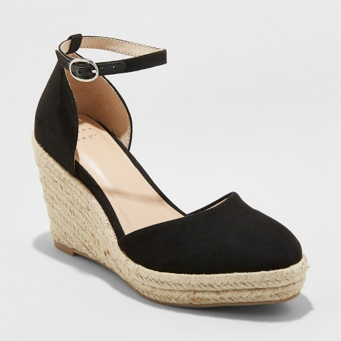268278dab1a Women s Olivia D Orsay Closed Toe Espadrille Wedge - A New Day™ Black 5.5    Target