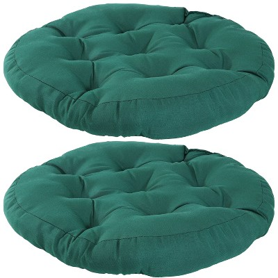 2pk Dark Green Olefin Tufted Large Round Floor Cushion - Sunnydaze Decor