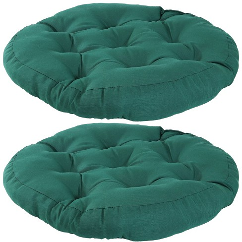 2pk Dark Green Olefin Tufted Large, Large Round Cushions For Outdoor Furniture
