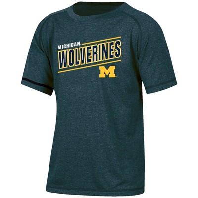 NCAA Michigan Wolverines Boys' Short Sleeve Gray Heather Raglan T-Shirt