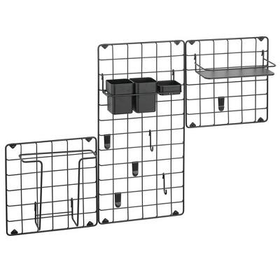 mDesign Metal Grid Modular Hanging Storage Organizer - Set of 3