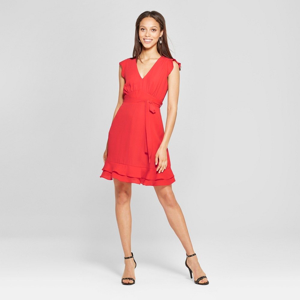 Image of Women's Flutter Sleeve V-Neck Mini Dress - Éclair Red S, Size: Small