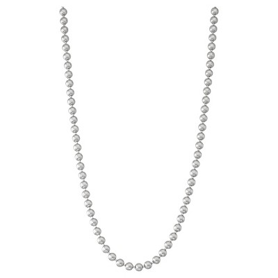 "Tiara Sterling Silver 20"" Thick Men's Beaded Chain Necklace"