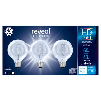 General Eletric Reveal 43w 3pk Energy Efficient Halogen Light Bulb