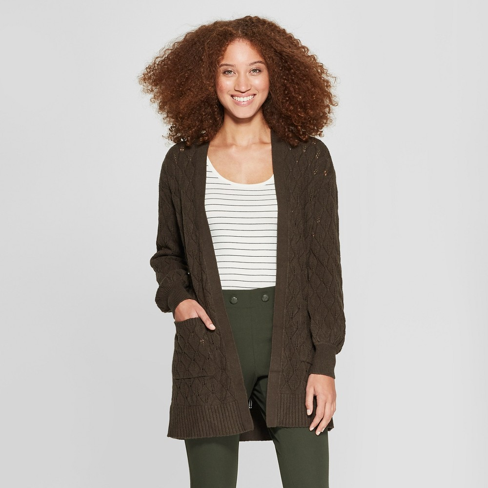 Women's Pointelle Open Cardigan Sweater - A New Day Olive (Green) XL