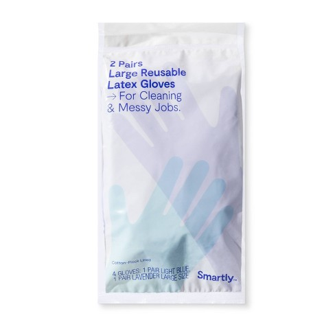 Reusable Double Pack Latex Gloves - L - Smartly™ - image 1 of 1