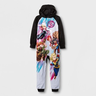 Girls' Marvel Rising Blanket Sleeper Union Set - Black XS