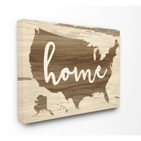 Distressed Wood U S A Map Stretched Canvas Wall Art Stupell Industries