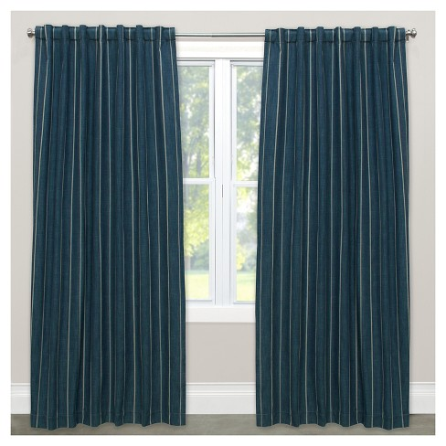 Window Curtain Panels Stripe Blue - image 1 of 5