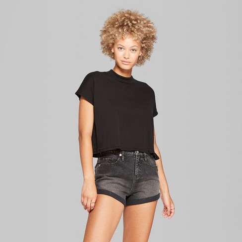 405b9812f Women s Mock Neck Boxy Short Sleeve Cropped T-Shirt - Wild Fable ...