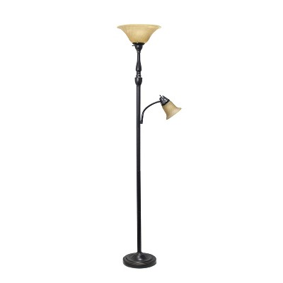 2 Light Restoration Mother Daughter Floor Lamp with Amber Marble Glass Shade Brown - Elegant Designs