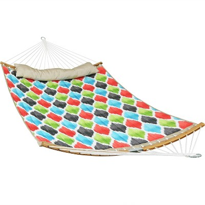 Quilted Hammock with 2-Pc Curved Bamboo Spreader Bars - Red/Green/Blue - Sunnydaze Decor