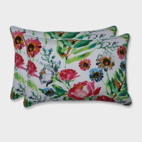 2pk Oversize Flower Mania Petunia Rectangular Throw Pillows Pink - Pillow Perfect - image 1 of 1