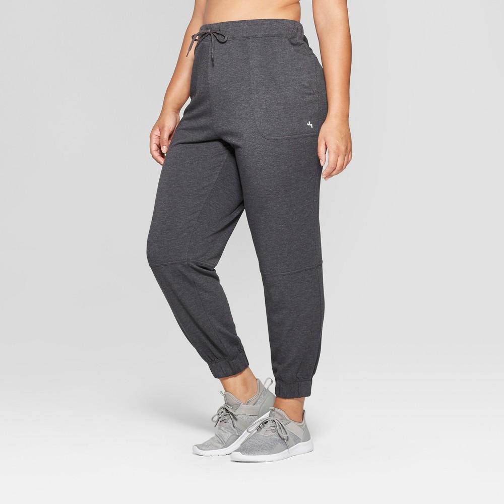 Women's Plus Size Fleece Sweat Pants - JoyLab Black 4X, Gray