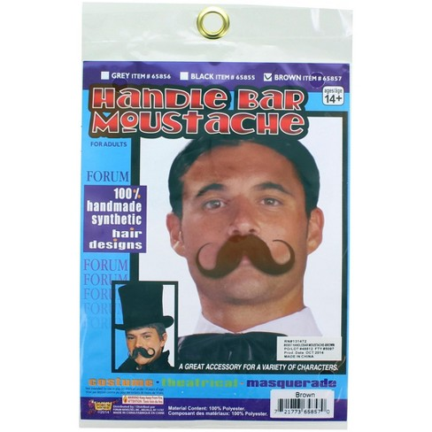 Forum Novelties Synthetic Warrior Handlebar Moustache Costume Accessory - Brown - image 1 of 1