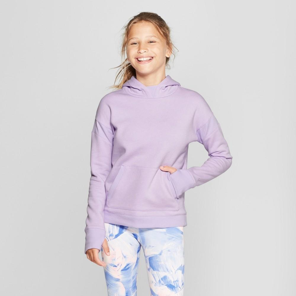 Girls' Authentic Fleece Sweatshirt Pullover Hoodie - C9 Champion Lilac Purple XL