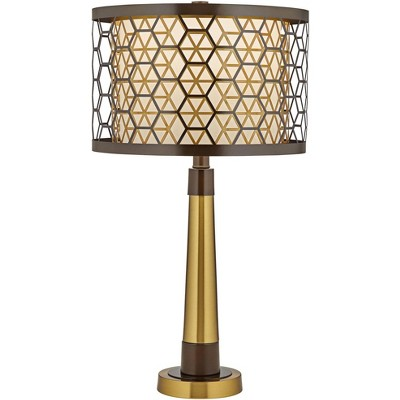 Possini Euro Design Modern Luxury Table Lamp Bronze Gold Metal Triple Drum Shade Living Room Bedroom House Bedside Nightstand Home