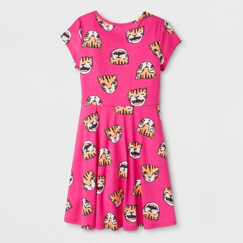 Girls' Short Sleeve Tiger Print Dress - Cat & Jack™ Pink
